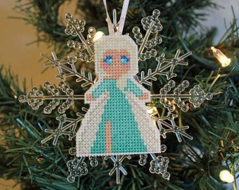 Handmade Cross Stitch Elsa Frozen Snowflake Ornament