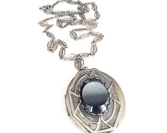 Park Lane Locket, Silver Necklace, Hematite Glass, Victorian Revival, Vintage Locket, Vintage Necklace
