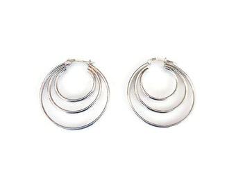 Vintage Sterling Silver Triple Hoop Earrings, Silver Hoops, Modernist Jewelry, Vintage Earrings, Vintage Jewelry