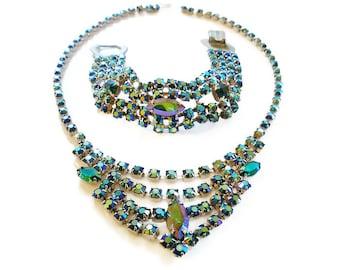 Peacock Rhinestone, Necklace Bracelet, Aurora Borealis, Blue Green Purple, Silver Metal, Sparkly Bling, Vintage Jewelry Set