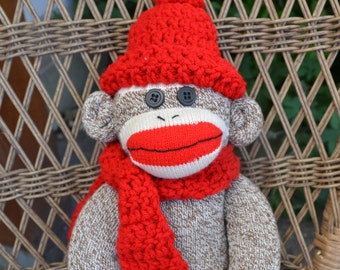 Large Sock Monkey Doll, Crochet Red Hat and Scarf, Choice of Sock Monkey Color