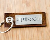 I Love You Times Infinity -  Tag Keychain Personalized Leather Key Chain Accessory, Anniversary Gift, Custom Keychain, Wedding Gift,