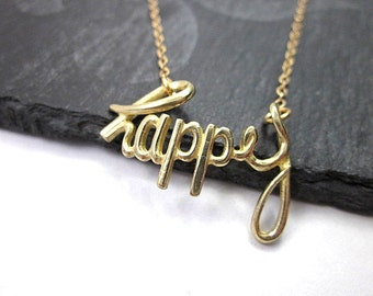 Happy Charm Necklace -- Happy Pendant Necklace -- Gold Happy Necklace -- Gold Word Necklace -- Happy Necklace -- Gold Charm Necklace