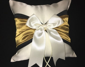 Black and Gold Accent White or Ivory  Wedding Ring Bearer Pillow