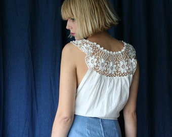 Crochet Cropped Blouse / Wrap Around Cotton Crop Top  / White Summer Shirt / Crochet Ethereal Cropped Blouse / Haute Hippie Bohemian Blouse