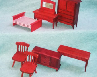 REDUCED Dollhouse Furniture, Wood, 1970s,  Holly Hobby