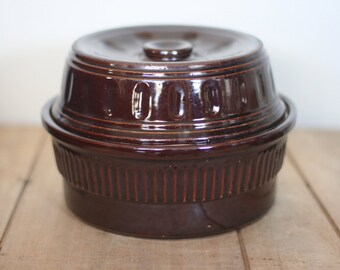 vintage brown stoneware dish with cover