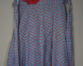 vintage red and blue cotton apron