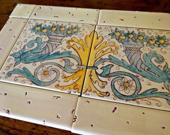 Hand painted ceramic tile Mural