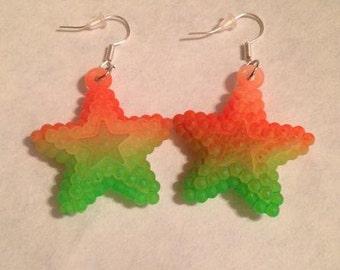 Orange and Green Star Earrings