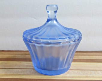 Blue Candy Dish with Lid - Upcycled Painted Glass - Trinket Bowl, Catch All, Summer Home Decor