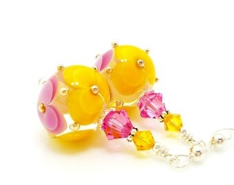 Pink and Yellow Earrings, Lampwork Earrings, Glass Bead Earrings, Glass Art Earrings, Floral Earrings, Unique Earrings, Floral Earrings