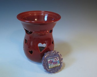 Red Handmade Wax or Essential Oil Burner Luminary with Heart Cut-outs