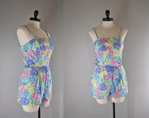 1970s Vintage Swimsuit l 70s Floral Romper by Seawaves