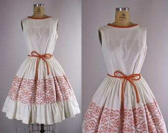 RESERVED- 1950s Vintage Dress l 50s Sundress with Battenburg Lace Details