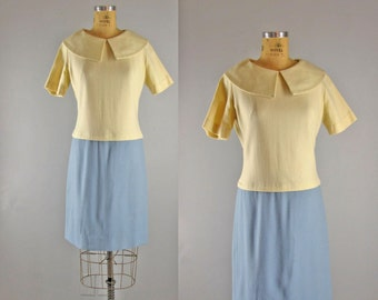 1960s Vintage Dress l 60s Blue and Vanilla Wool Dress with Peter Pan Collar