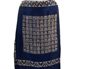 HUGE square Vintage Asian Silk Scarf, Navy Blue & Cream Chinese Print