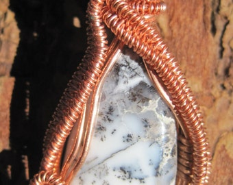 White Wizard///Dendritic Opal, Merlinite, and Copper Wire Wrap Pendant, One of a Kind, Handmade, Heady, Art