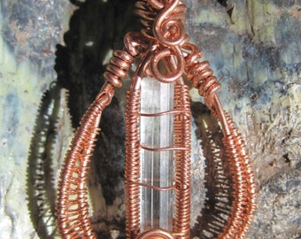 Waves///Aquamarine and Copper Wire Wrap Pendant, One of a Kind, Handmade, Art, Heady, Free Form Wrap
