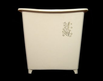 Elegant mid century footed waste basket ~ ivory white plastic trash can ~ silver satin floral decoration ~ art deco style ~ 1960s 60s