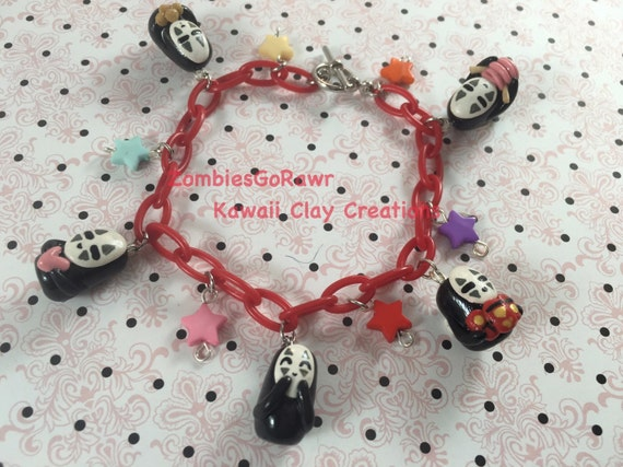 Kawaii No Face Inspired Polymer Clay Charm Bracelet