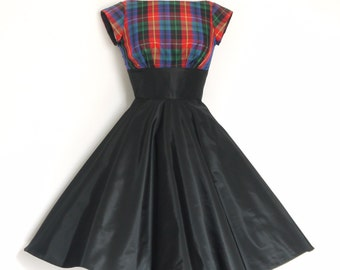 UK Size 8 Red & Blue Tartan and Black Taffeta Evening Dress with Circle Skirt - by Dig For Victory R.T.S