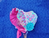 Reversible Baby Bonnet Turquoise and Pink with Lace Pink Baby Bonnet