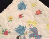 Vtg Baby or Child's Quilt Blanket With Raggedy Ann Like Rag Dolls