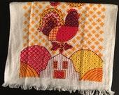 Vtg Rooster / Barn Kitchen Hand Towel - Unused