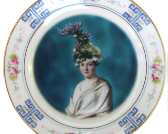 Portrait of Coral - Altered Vintage Plate 6.5""