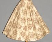50s Circle Skirt, 1950s Skirt, Leaf Novelty Print Rockabilly Skirt, XS