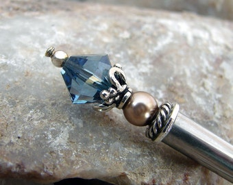 Sterling Silver Hair Stick Hair Pin with Swarovski Denim Blue Crystal and Bronze Pearl Kanzashi Hair Pins Hair Chopsticks Haarstab - Toni