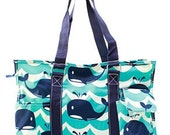 Monogrammed Whale Utility pocket tote bag