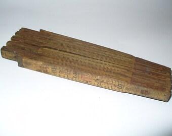 Antique Lufkin Folding Carpenters Ruler, Yardstick Photo Prop, Salvage