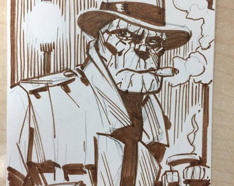 The Thing sketchcard by Dan Schkade & Ron Chan.