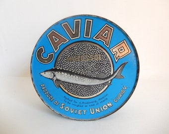 Mid Century Soviet Union Malossol CAVIAR Blue Tin Metal Can - Vintage Fish / Beach / Nautical Decor