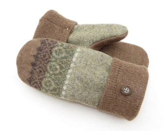 Wool Mittens from Recycled Wool Sweaters Light Green and Tan Diamond Pattern