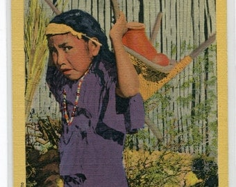 Little Papago Native American Indian Girl Carrying Water linen postcard