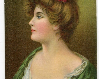 Beautiful Lady Woman Portrait Artist Asti 1910c postcard