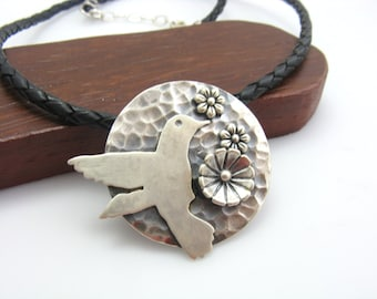 Hummingbird Flower Pendant Necklace Nature Inspired Bird Necklace Handmade Metalwork Jewelry By BooBeads Sterling Silver Leather Hummingbird