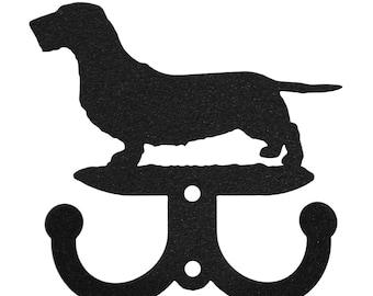 Wirehaired Dachshund Dog 2 Hook Metal Key Chain Holder