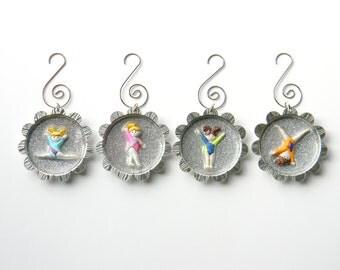Gymnastics Glitter Ornaments - Set of 4 with Gymnasts in Leotards