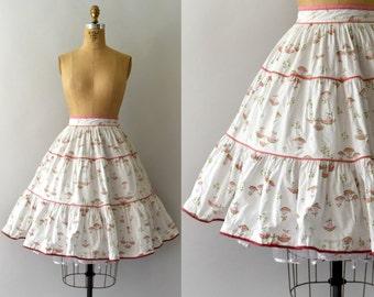 1950s Vintage Skirt - 50s Watermelon Print Cotton Full Skirt