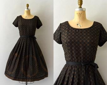 RESERVED LISTING -- 1950s Vintage Dress - 50s Fall Floral - Polka Dot Rose Print Dress