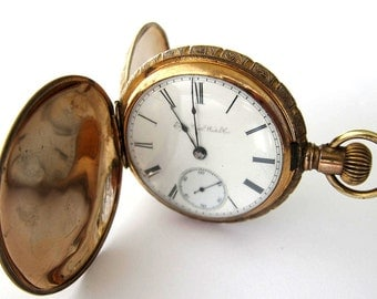 Antique 10K Goldfilled Elgin Pocket Watch Hunter Case,S18,7J,Sev'd & Run