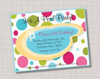 Custom Polka Dots Swimming Pool Party Birthday Party Invitations