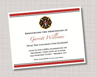Custom Awards Fire Academy Graduation Announcements Invitations