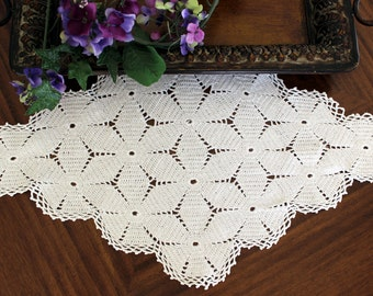 Large Doily, or Centerpiece in White, Crochet Doilies, Hand Crocheted, Vintage Linens 13416