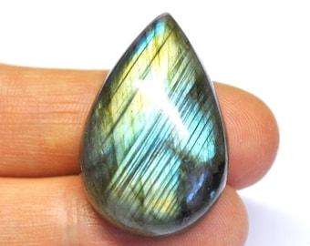 Blue Labradorite, Natural Gemstone, Tear Drop Cabochon, Flat Back, Jewelry Supply AAA - 33.0 x 21.8 x 10.2 mm - 56.0 ct - 160615-09