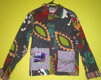 Sale Upcycled paisley cotton jacket fits M L